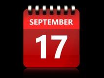 календарь 3d 17-ое сентября Стоковые Изображения RF