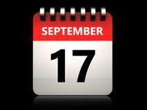 календарь 3d 17-ое сентября Стоковое Изображение
