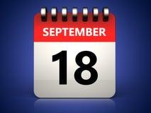 календарь 3d 18-ое сентября Стоковое Изображение RF