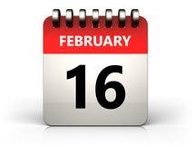 календарь 3d 16-ое февраля Стоковые Изображения RF
