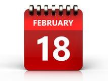 календарь 3d 18-ое февраля Стоковая Фотография RF