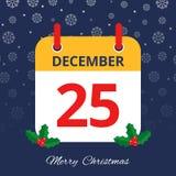 Календарь 25th -го декабрь иллюстрация штока