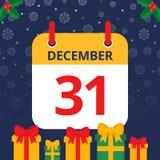 Календарь 31th -го декабрь иллюстрация штока