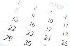 календар июль Стоковая Фотография RF