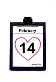 Календар показывая дату дня Valentineâs Стоковое Изображение
