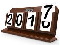 Календар стола представляет год две тысячи 17 Стоковые Фотографии RF