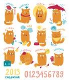 Календар с милый яркими котами бесплатная иллюстрация