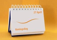 Календар с 27-ое апреля как голландско kingsday стоковое изображение