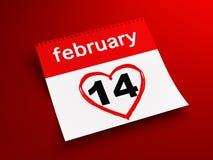 Календар 14-ое февраля Стоковая Фотография