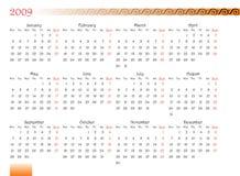 календар 2009 украсил Стоковые Изображения