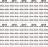 календар 2010 2019 Стоковые Фото