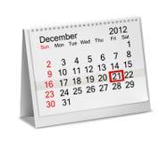 Календар 2012 настольного компьютера - декабрь. Стоковые Изображения