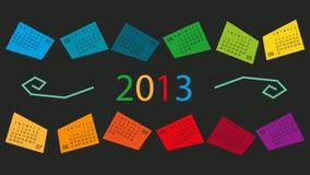 Календар 2013 в коробках цвета Стоковые Фото