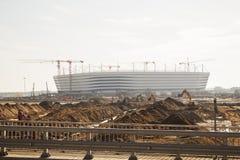 Калининград-Россия, 28-ое сентября 2017: Конструкция футбольного стадиона для 2018 кубков мира редакционо стоковое изображение rf