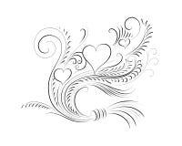 Каллиграфическая иллюстрация с сердцами Стоковые Изображения