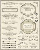 каллиграфическая страница элементов конструкции украшения Стоковое Изображение RF