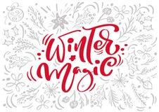 Каллиграфия красной зимы рождества волшебная помечая буквами текст вектора с элементами xmas зимы в скандинавском стиле творческо иллюстрация штока