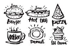 Каллиграфия нарисованная рукой и еда установили значки Рукописное letterin иллюстрация вектора