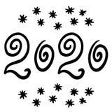 Каллиграфия 2020 Новых Годов Снежинки Нарисованные вручную номера для календарей, карт и больше праздника Дизайн текста, литернос иллюстрация штока