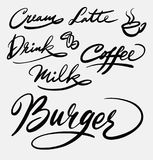 Каллиграфия почерка бургера и кафа Стоковые Фотографии RF