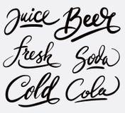 Каллиграфия почерка сока и пива Стоковая Фотография