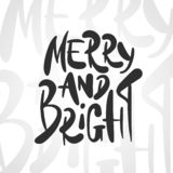 Каллиграфия руки вычерченная на праздник рождества и Нового Года на белой предпосылке текста иллюстрация штока