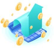 Калькулятор бухгалтера, увеличивая стрелка, дождь золота bitcoins Стоковые Изображения RF