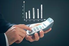 калькулятор и статистика графика Стоковые Фото