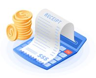 Калькулятор математики, бумажная оплата счета, стог монеток Стоковая Фотография