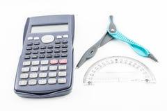 Калькулятор, транспортер и компас Стоковые Изображения RF