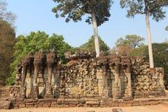 Камбоджа Город Angkor Thom Терраса слонов Провинция Siem Reap Город Siem Reap стоковая фотография rf