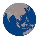 Камбоджа на политическом глобусе Стоковая Фотография RF