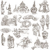 Камбоджа - рука нарисованные иллюстрации Пакет Frehand Стоковые Фотографии RF