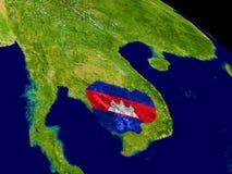 Камбоджа с флагом на земле Стоковые Изображения