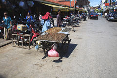 Камбоджийская женщина продает экзотическую еду на улице Стоковое Изображение RF