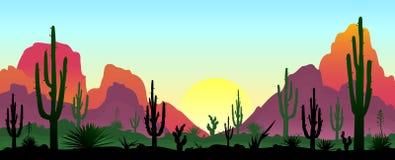 Каменистая пустыня с кактусами иллюстрация штока