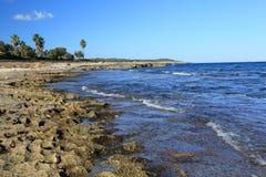 Каменистое место морского побережья. Mallorka. Испания. стоковое фото rf