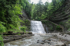 Каменистый водопад парка штата ручейка, Нью-Йорк, США стоковые фотографии rf