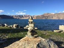Каменная башня - озеро Pangong Стоковое Изображение