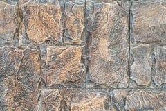 Каменная кладка с асимметрией Предпосылка стены кирпичей конца-вверх яркая винтажная Каменная стена для текстуры предпосылки Стоковое фото RF