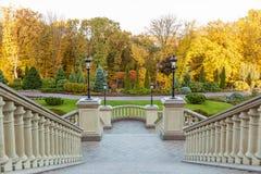 Каменная лестница в парке осени Стоковая Фотография RF