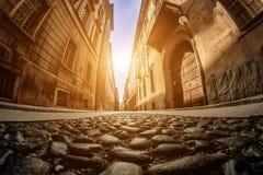 Каменная мостоваая в Италии тонизировать сфокусируйте мягко Рыб-глаз Стоковое Изображение RF