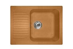 Каменная раковина сделанная квадрата гранита в бежевом цвете, изолированный на белой предпосылке Стоковое Изображение