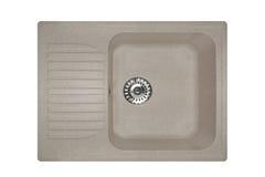 Каменная раковина сделанная квадрата гранита в сером цвете, изолированный на белой предпосылке Стоковое Изображение RF
