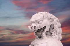 Каменная статуя льва попечителя в парке Beihai --Пекин, Китай Стоковое Изображение