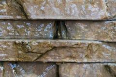Каменная стена при вода бежать вниз стоковое изображение