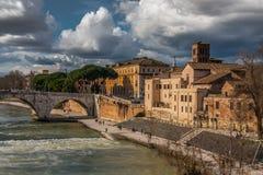 Каменное варолиево мост Cestius моста стоковое фото rf