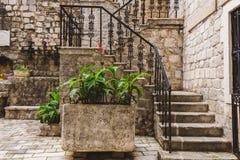 Каменное патио в городке Kotor старом Стоковая Фотография