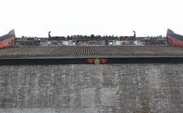 Каменное резное изображение в старой китайской архитектуре Стоковое фото RF