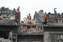 Каменное резное изображение в старой китайской архитектуре Стоковые Изображения